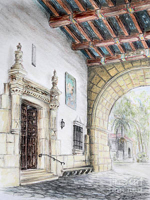 Santa Barbara Courthouse Arch Art Print by Danuta Bennett