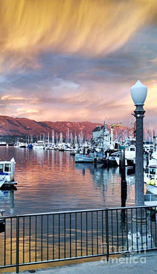 Digital Art - Santa Barbara Harbor Sunset by Danuta Bennett