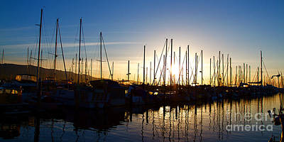 Santa Barbara Harbor With Yachts Boats At Sunrise In Silhouette Art Print by ELITE IMAGE photography By Chad McDermott