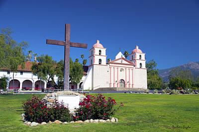Santa Barbara Mission And Cross Art Print by Barbara Snyder