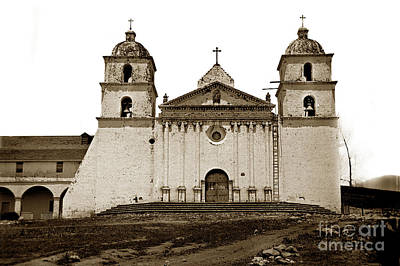 Photograph - Santa Barbara Mission California Circa 1880 by California Views Mr Pat Hathaway Archives