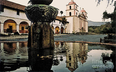 Water Fountain Digital Art - Santa Barbara Mission by Linda  Parker