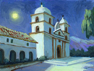 Painting - Santa Barbara Mission Moonlight by Diane McClary