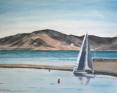 Speed Boat Painting - Santa Barbara Sailing by Ian Donley