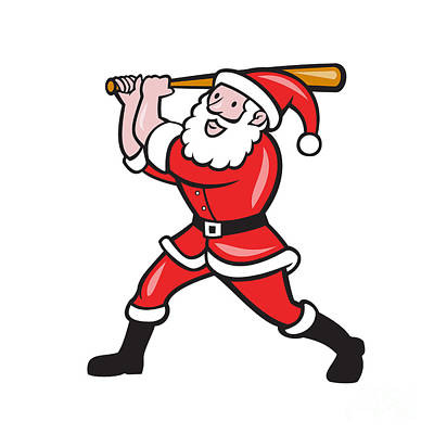 Kris Kringle Digital Art - Santa Baseball Player Batting Isolated Cartoon by Aloysius Patrimonio