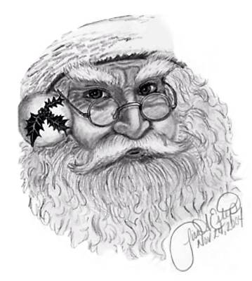 Santa - Black And White Art Print