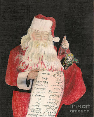 Drawing - Santa - Checking His List - Christmas by Jan Dappen