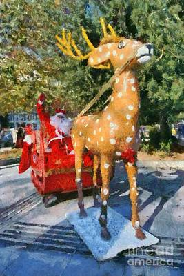 Painting - Santa Claus And Reindeer by George Atsametakis
