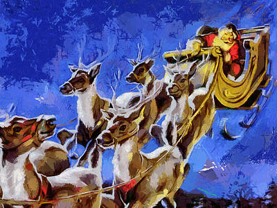 Santa Claus And Reindeer Art Print