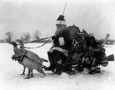 Photograph - Santa Claus And Sled Drawn By White by Photo Researchers