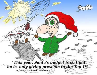 Editorial Cartoon Mixed Media - Santa Claus And The Top 1 Percent by OptionsClick BlogArt