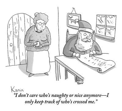 Santa Claus Drawing - Santa Claus Angrily Crosses Off Names by Zachary Kanin