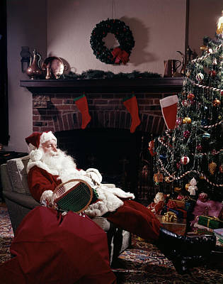 Winter Sleep Photograph - Santa Claus Asleep In Chair In Front by Vintage Images
