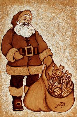 Painting - Santa Claus Bag by Georgeta  Blanaru