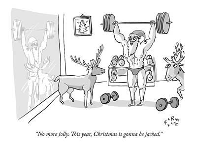 Santa Drawing - Santa Claus by Farley Katz