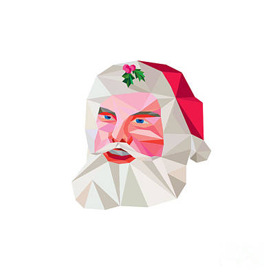 Santa Claus Father Christmas Low Polygon Art Print