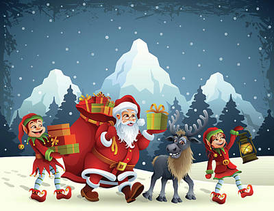 Santa Claus Is Coming Art Print by Alonzodesign