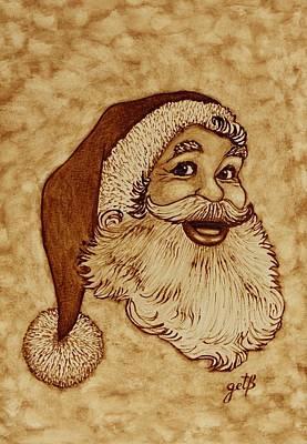 Santa Claus Joyful Face Art Print by Georgeta  Blanaru