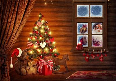 Photograph - Santa Claus Looking Through Window by Doc Braham