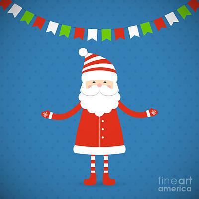 Santa Claus Wall Art - Digital Art - Santa Claus On A Blue Background by Bellenixe