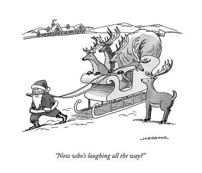 Santa Claus Drawing - Santa Claus Pulls A Sleigh Full Of Reindeer by Joe Dator