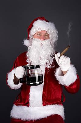 Santa Claus Smoking A Cigar And Drinking Coffee Art Print by Joe Belanger