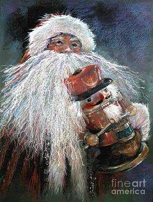 Santa Claus Painting - Santa Claus St Nick And The Nutcracker by Shelley Schoenherr