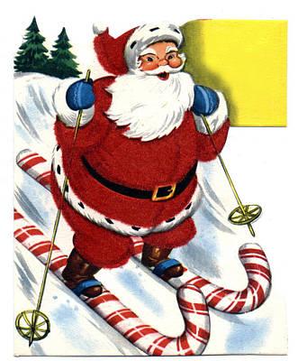 Ski Digital Art - Santa Clause Skiing by Unknown