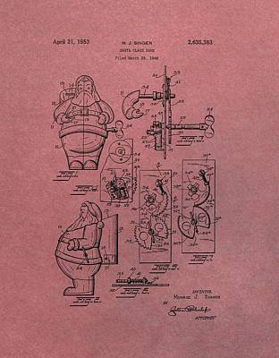 Santa Claus Mixed Media - Santa Clause Toy Patent by Dan Sproul