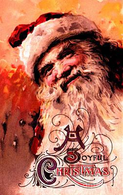 Mixed Media - Santa Clause Vintage Poster A Joyful Christmas by R Muirhead Art