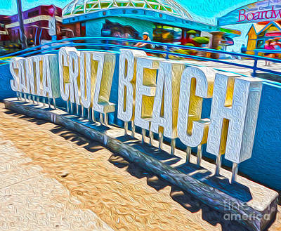 Santa Cruz Boardwalk Sign Art Print