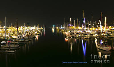 Photograph - Santa Cruz Harbor @ Night by Theresa Ramos-DuVon