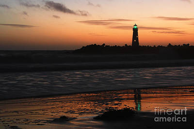 Photograph - Santa Cruz Harbor Lighthouse At Sunset by Paul Topp