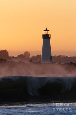 Photograph - Santa Cruz Harbor Lighthouse With Wave by Paul Topp