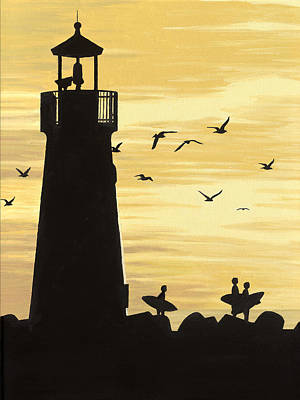 Coast Hwy Ca Painting - Santa Cruz Lighthouse by Andrew Palmer