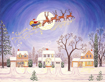 Santa En Route Art Print by Linda Mears
