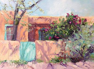 Southwest Gate Painting - Santa Fe Adobe Vi by Carol Hopper