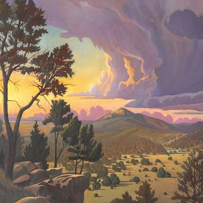 Art Print featuring the painting Santa Fe Baldy - Detail by Art James West