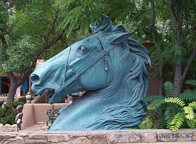 Santa Fe Big Blue Horse Art Print by Sylvia Thornton