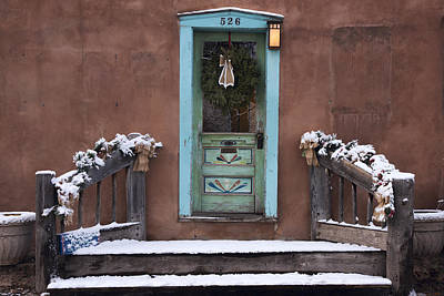 Photograph - Santa Fe Blue Door And Adobe House by Dave Dilli