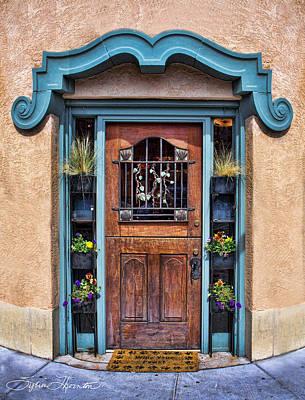 Santa Fe Blue Door Art Print by Sylvia Thornton