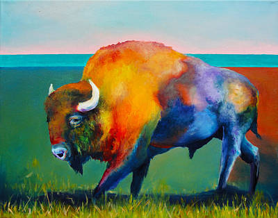 Santa Fe Painting - Santa Fe Buffalo by Robert Pankey