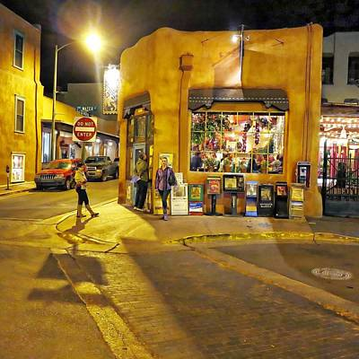 Digital Art - Santa Fe By Night by Carrie OBrien Sibley
