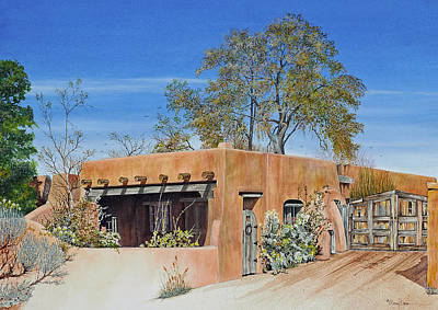 Painting - Santa Fe Casa by Mary Dove