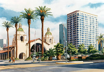 Mission California Painting - Santa Fe Depot San Diego by Mary Helmreich