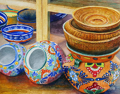 Painting - Santa Fe Hold 'em Pots And Baskets by Karen Fleschler