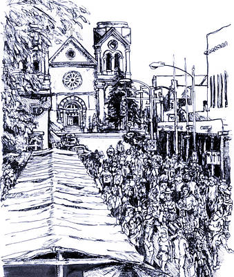 New Mexico Drawing - Santa Fe Market by Del Gaizo