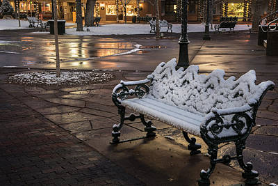 Photograph - Santa Fe Plaza Bench by Dave Dilli