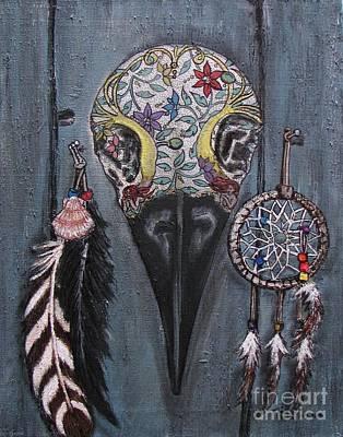Santa Fe Raven Skull Original by Marilyn  Sahs