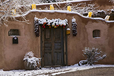 Photograph - Santa Fe Style Southwestern Adobe Door by Dave Dilli